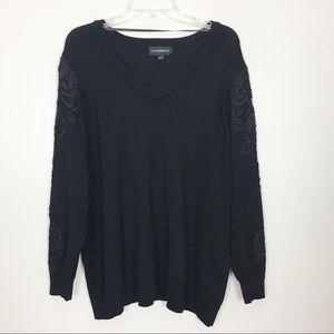 Lane Bryant Black V-Neck Sweater Black Lace Detail